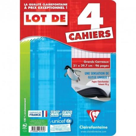 Lot de 4 cahiers Clairefontaine 21x29,7 (A4) - 96 pages - Séyès (grands carreaux)