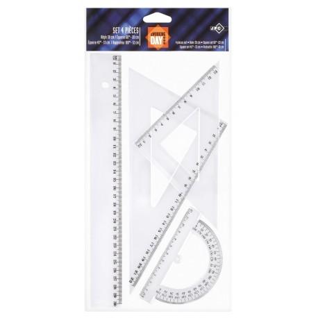 Kit de traçage 4 pièces JPC en plastique transparent