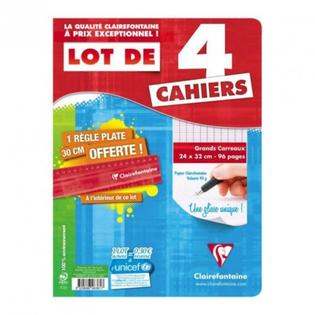 Lot de 4 cahiers Clairefontaine 24x32 (grand format) - 96 pages - Séyès (grands carreaux)