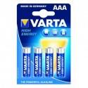 Piles LR03 - AAA puissance 1,5V. Livrées dans un blister de 4 piles. Marque Varta.