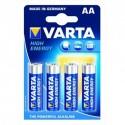 Piles LR06 - AA puissance 1,5V. Livrées dans un blister de 4 piles. Marque Varta.