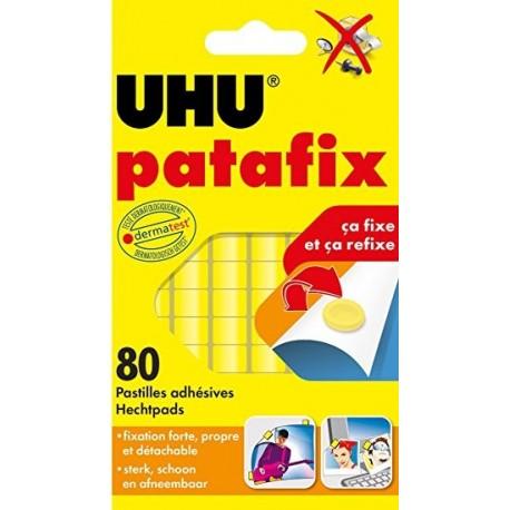 Pâte adhésive Patafix Uhu - pochette de 80 pastilles jaune