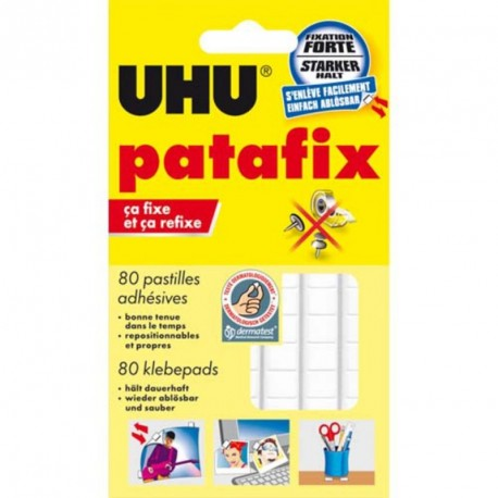 Pâte adhésive Patafix Uhu - pochette de 80 pastilles blanche