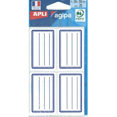 Étiquettes écolier 36x56mm blanches et bleues - sachet de 20