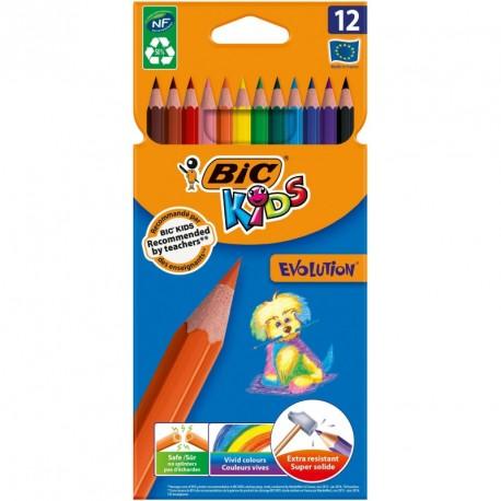 Crayons de couleur Bic Kids Evolution - pochette de 12 assortis