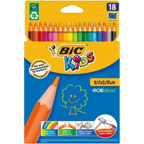 Crayons de couleur Bic Kids Evolution - pochette de 18 assortis