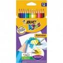 Crayons de couleur aquarellable Bic Kids Aquacouleur - pochette de 12 assortis