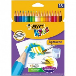 Crayons de couleur aquarélable Bic Kids Aquacouleur - pochette de 18 assortis