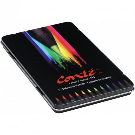 Crayons de couleur Conté - boîte métallique de 12 crayons