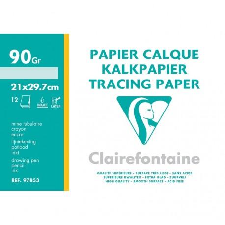 Feuilles de papier calque en feuille grand format 21x29,7 90gr