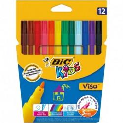 Feutres Bic Kids Visa pointe fine - pochette de 12 assortis