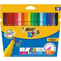 Feutres Bic Kids Visa pointe fine - pochette de 18 assortis