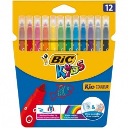 Feutres Bic Kid Couleur pointe fine - pochette de 12 assortis