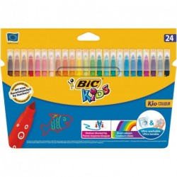 Feutres Bic Kid Couleur pointe fine - pochette de 24 assortis