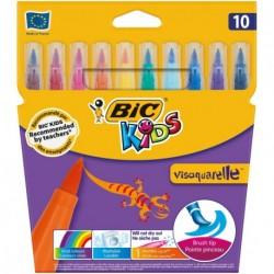 Feutres pinceaux Bic Visaquarelle - pochette de 10 assortis