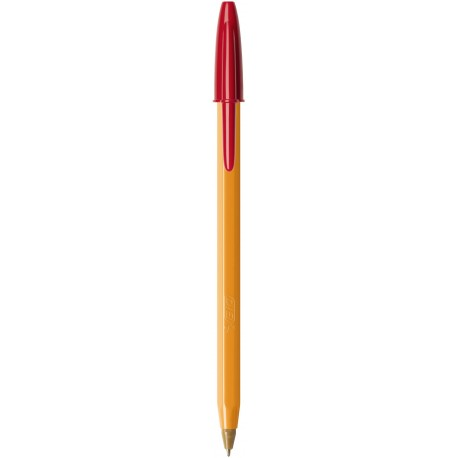 Stylo bille Bic Orange pointe fine avec capuchon - Rouge