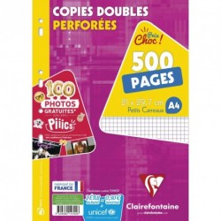 Copies doubles lot de 500 format A4 21x29,7 petits carreaux 5/5 Clairefontaine