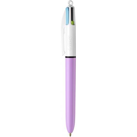 Stylo bille 4 couleurs couleurs fun rétractable pointe moyenne