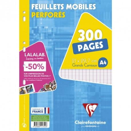 Feuilles simples lot de 300 format A4 21x29,7 grands carreaux séyès Clairefontaine