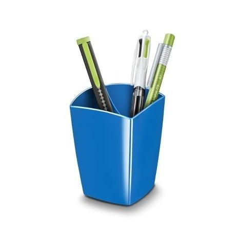 Pot à crayons 2 compartiments plastique - Bleu