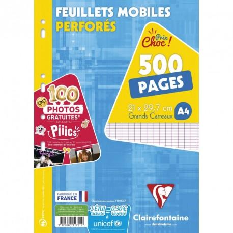 Feuilles simples lot de 500 format A4 21x29,7 grands carreaux séyès Clairefontaine