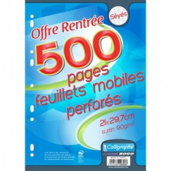 Feuilles simples lot de 500 format A4 21x29,7 grands carreaux séyès Calligraphe