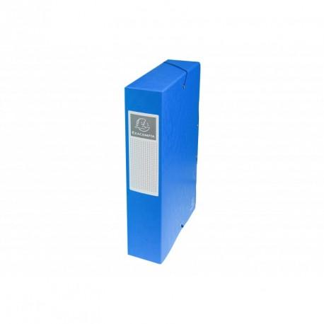 Boite de classement carton Exabox dos de 6cm - Bleu