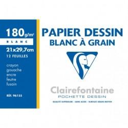 Feuilles de dessin à grain blanche format A4 21x29,7 (A4) 180gr