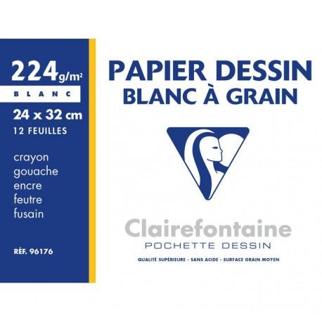 Feuilles de dessin à grain blanche grand format 24x32 224gr