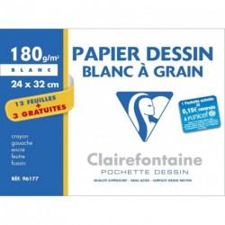 Feuilles de dessin à grain blanche grand format 24x32 180gr
