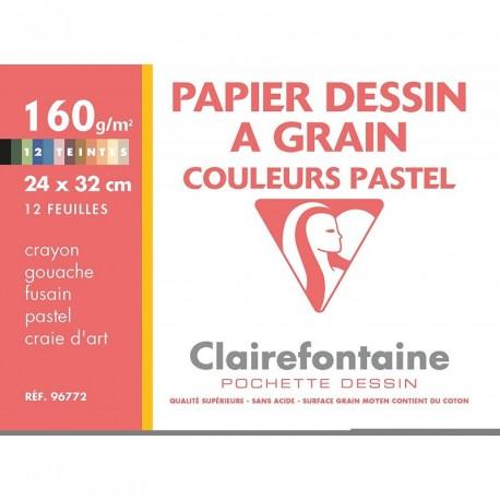 Feuilles de dessin à grain couleurs pastels grand format 24x32 160gr