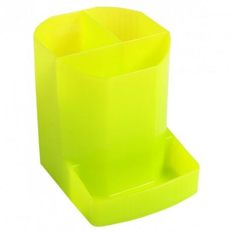 Pot à crayons multi compartiments plastique translucide - Anis