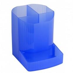 Pot à crayons multi compartiments plastique translucide - Bleu glacé