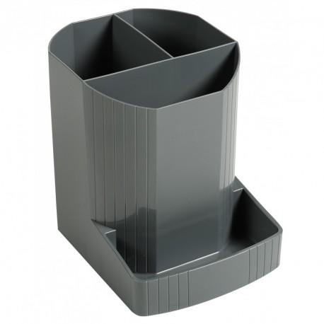 Pot à crayons multi compartiments plastique translucide - Gris souris