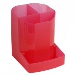Pot à crayons multi compartiments plastique translucide - Framboise