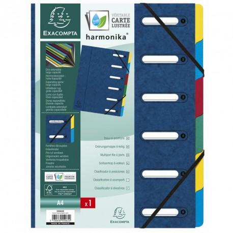 Trieur carton de 6 compartiments extensibles - couleurs assortis
