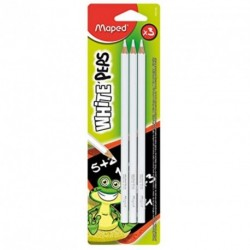 Crayon blanc pour ardoise noire - Lot de 3