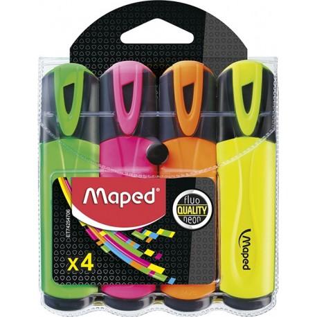 Surligneur Maped Fluo'Peps avec capuchon - Pochette de 4 assortis