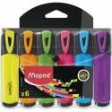 Surligneur Maped Fluo'Peps avec capuchon - Pochette de 6 assortis
