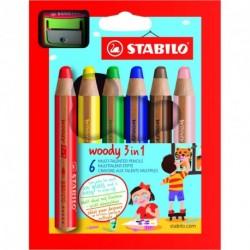 Crayons de couleur Stabilo Woody 3 en 1 avec taille crayon - boite de 6