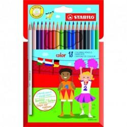 Crayons de couleur Stabilo Color - pochette de 18 assortis