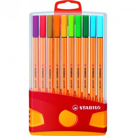 Stylo feutre Stabilo point 88 pointe extra-fine et capuchon - Etui plastique de 20 couleurs