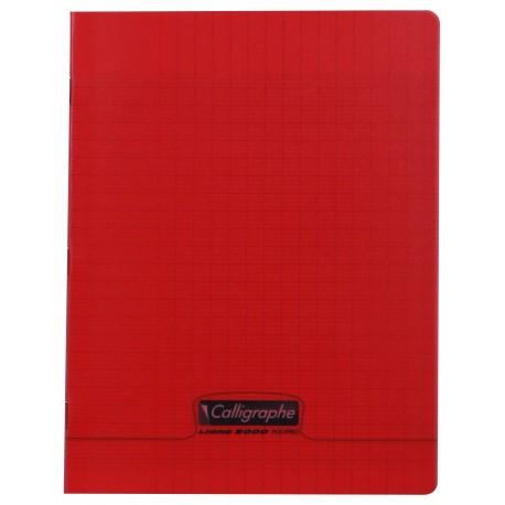 Cahier polypro Calligraphe petit format 17x22 60p grands carreaux (séyès) - rouge