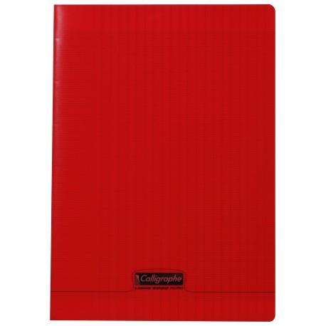 Cahier polypro Calligraphe format A4 21x29,7 96p grands carreaux (séyès) - rouge
