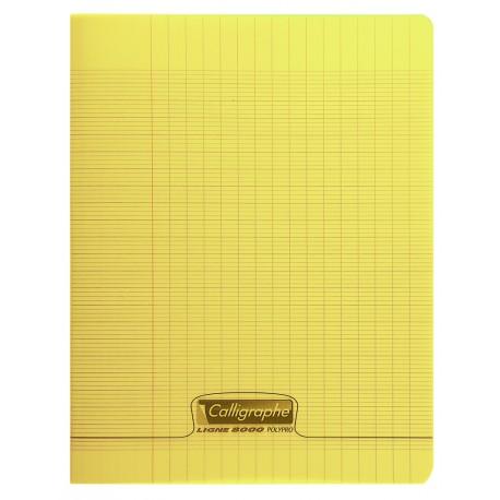 Cahier polypro Calligraphe petit format 17x22 96p grands carreaux (séyès) - jaune