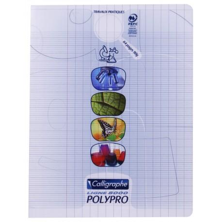 Cahier de travaux pratiques polypro Calligraphe 17x22 64p séyès/uni - incolore