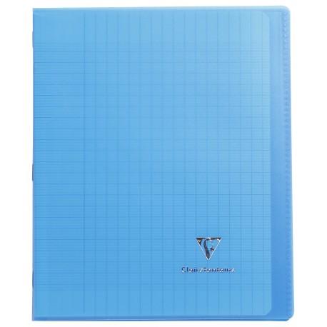 Cahier avec pochette Koverbook 17x22 96p grands carreaux (séyès) bleu