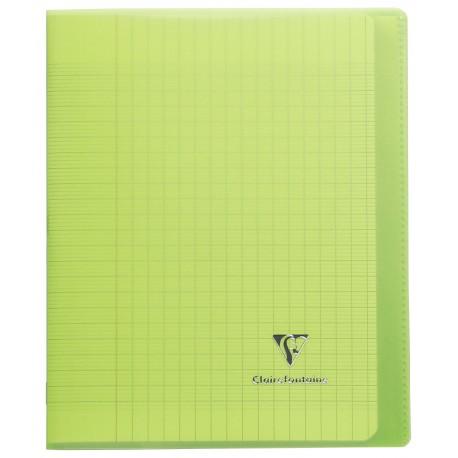 Cahier avec pochette Koverbook 17x22 96p grands carreaux (séyès) vert