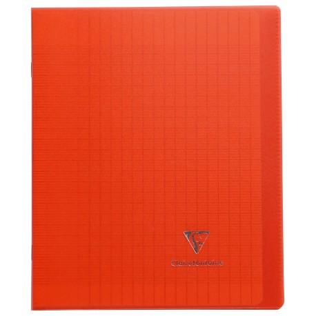 Cahier avec pochette Koverbook 17x22 96p grands carreaux (séyès) rouge