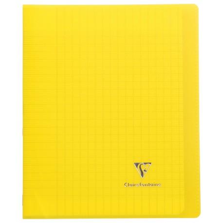 Cahier avec pochette Koverbook 17x22 96p grands carreaux (séyès) jaune